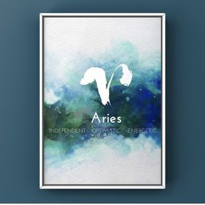 Aries zodiac signs modern watercolor art print